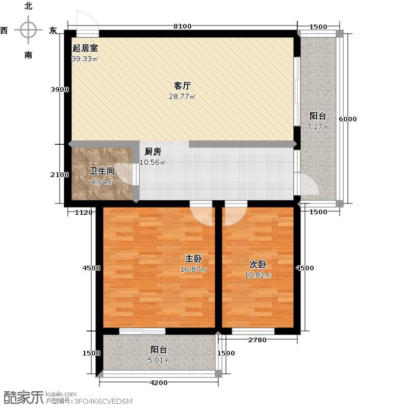 明珠公寓121.65㎡N户型2室1厅1卫户型2室1厅1卫
