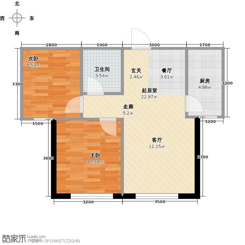 岭湾峰尚64.00㎡二室二厅一卫户型