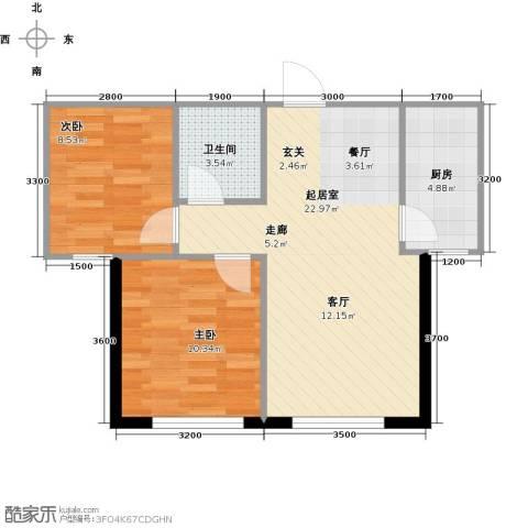 岭湾峰尚2室0厅1卫1厨64.00㎡户型图