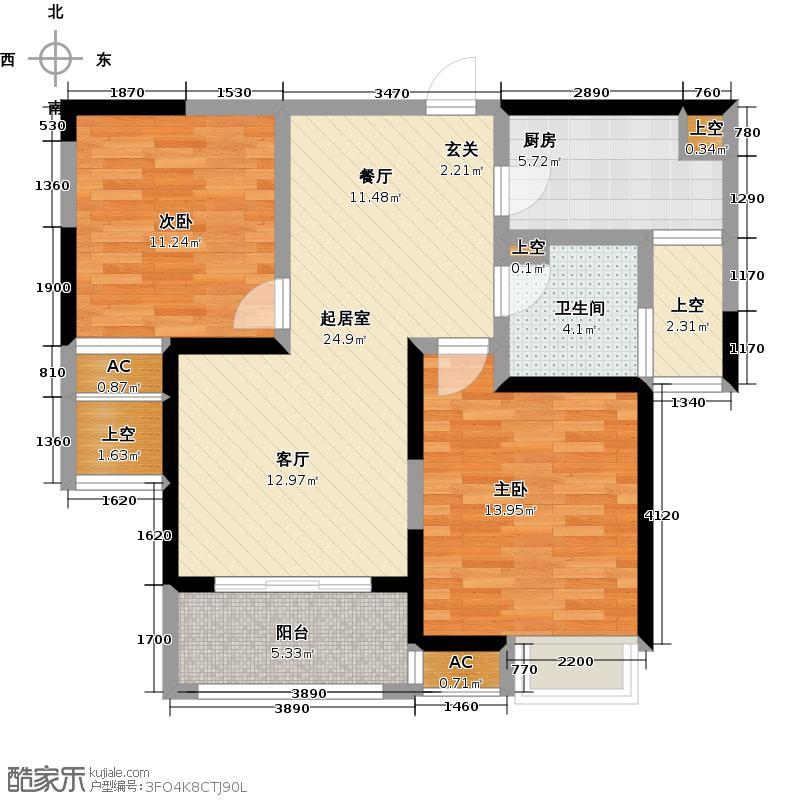 建屋海德公园84.00㎡建屋海德公园D3户型2房2厅1卫QQ