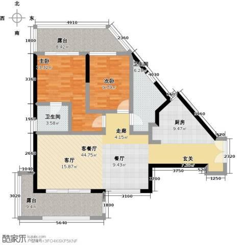 尚海华廷2室1厅2卫0厨114.00㎡户型图