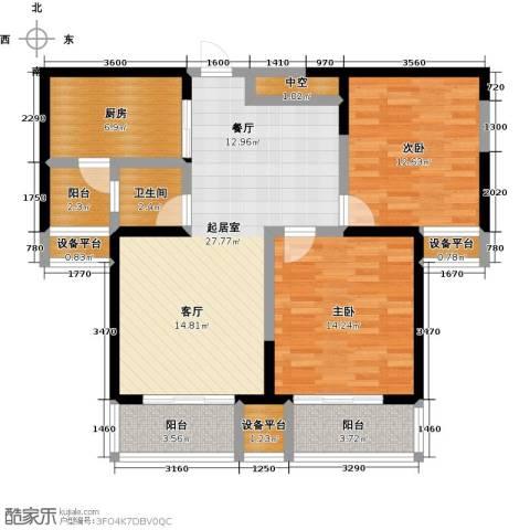 西港碧水湾2室0厅1卫1厨92.00㎡户型图