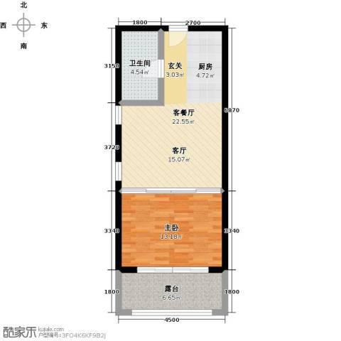 尚海华廷1室1厅1卫0厨66.00㎡户型图