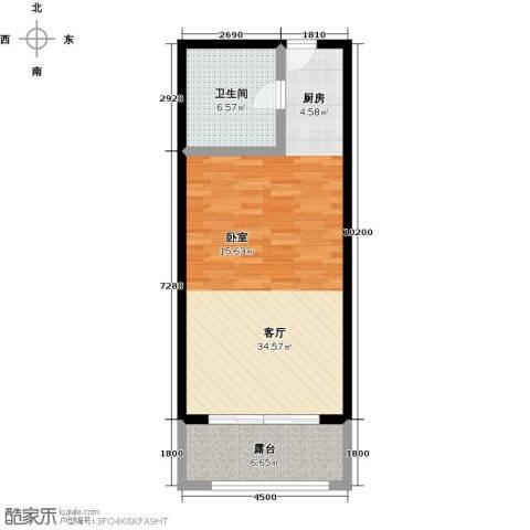 尚海华廷1厅1卫0厨60.00㎡户型图