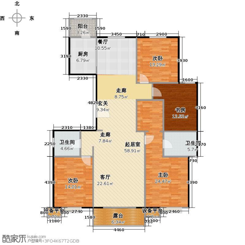 北环盛世190.91㎡1#楼2单元2层东户户型4室2厅2卫