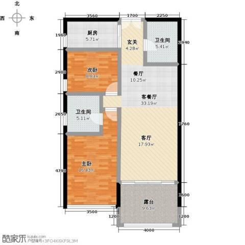 尚海华廷2室1厅2卫1厨111.00㎡户型图