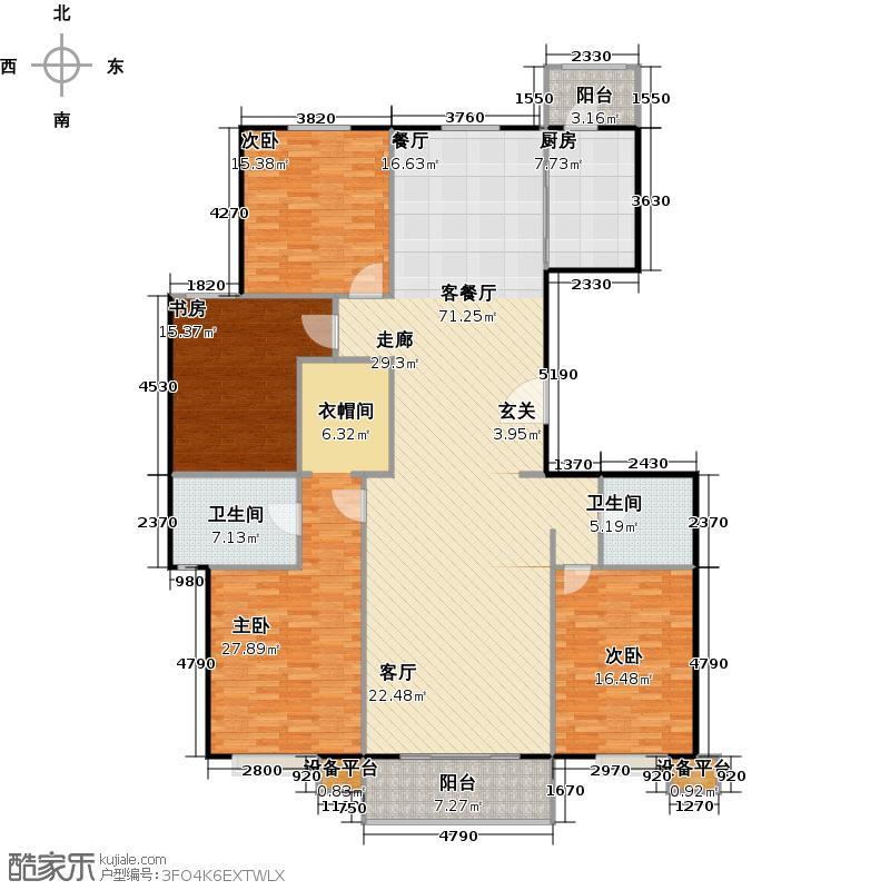 北环盛世190.91㎡1#楼2单元2层西户户型4室2厅2卫