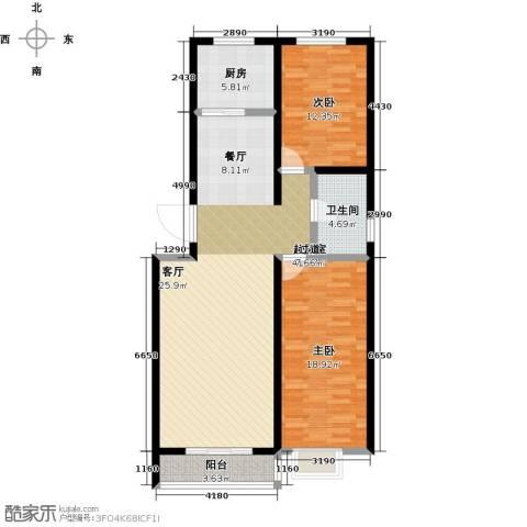 华清苑2室0厅1卫1厨100.00㎡户型图
