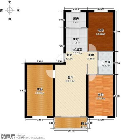 金华学府3室0厅1卫1厨108.00㎡户型图