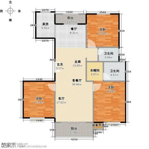 北环盛世3室1厅2卫1厨140.00㎡户型图