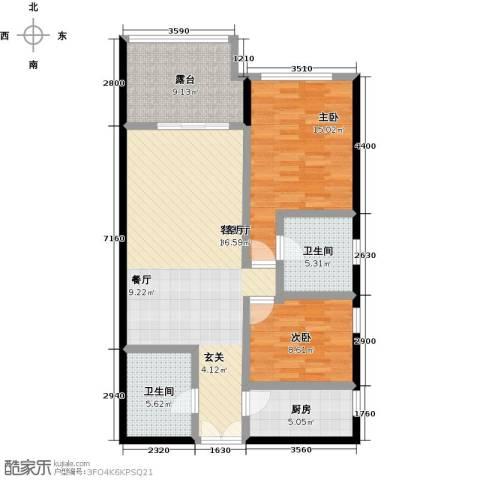 尚海华廷2室1厅2卫1厨106.00㎡户型图