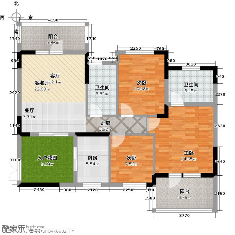 巢上城107.00㎡8号楼3E户型3室2厅2卫