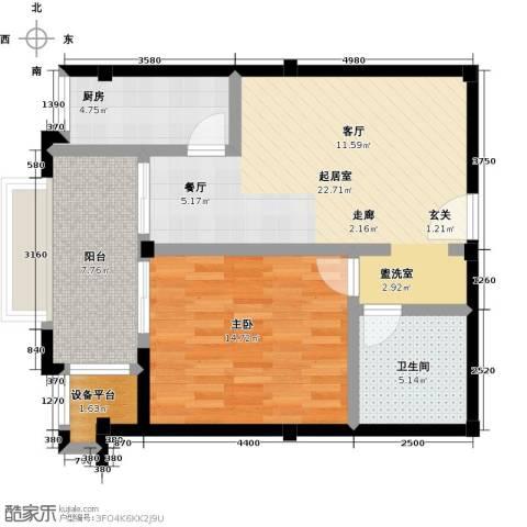 绿城蓝湾小镇1室0厅1卫1厨83.00㎡户型图