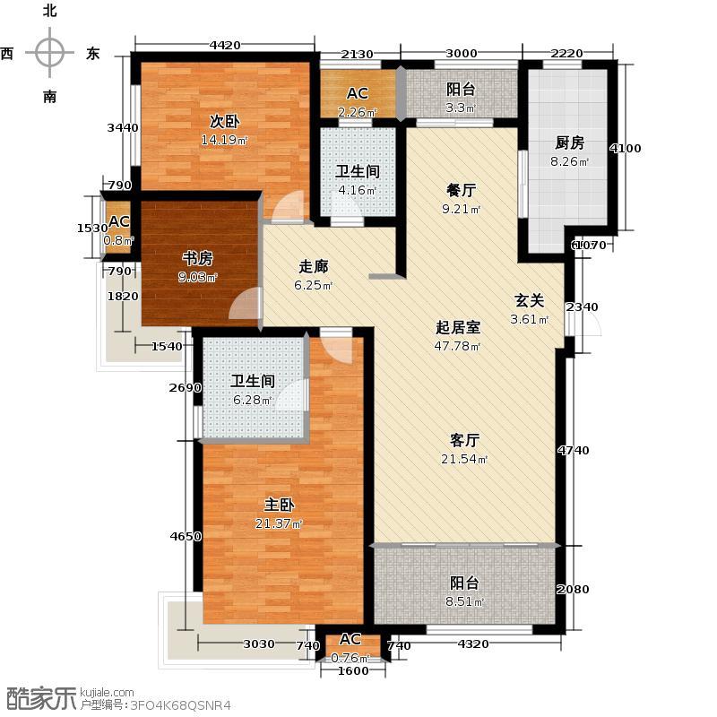 绿地新里卢浮公馆144.00㎡C5三室二厅二卫约QQ