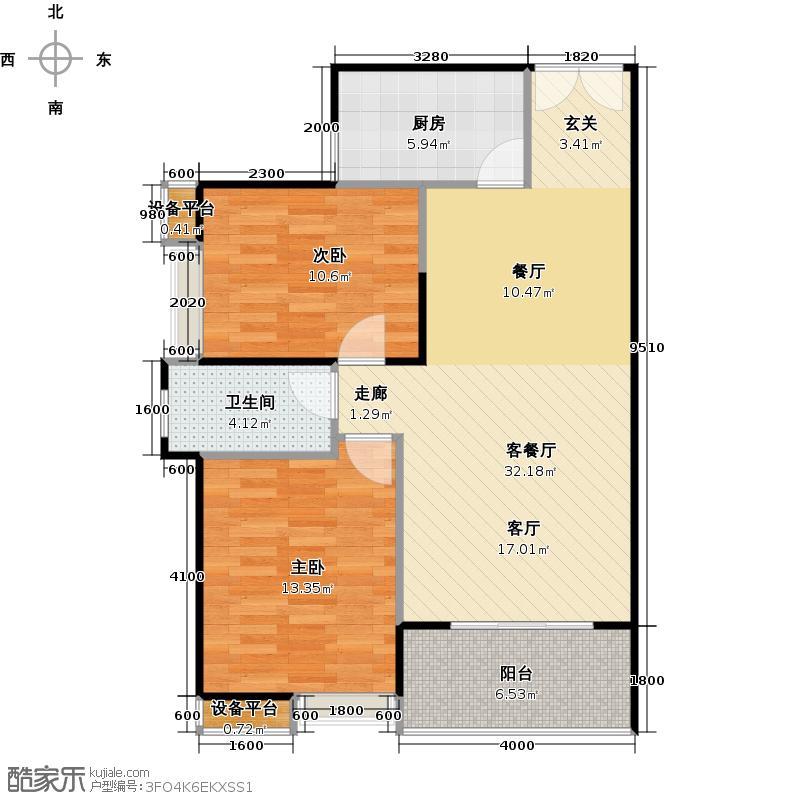 汉口湖畔88.00㎡2B1户型 2室2厅1卫户型2室2厅1卫