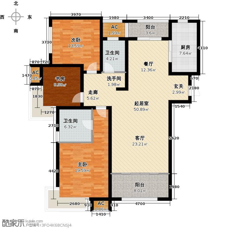 绿地新里卢浮公馆144.00㎡C3三室二厅二卫约QQ
