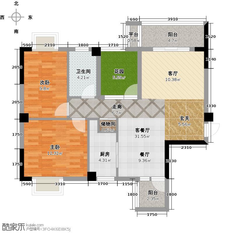 武湖新天地90.00㎡武湖新天地A1户型3室2厅1卫1厨户型3室2厅1卫