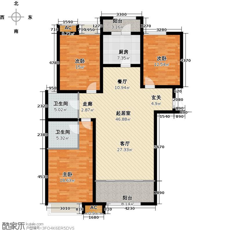 绿地新里卢浮公馆C2三室两厅两卫135-144平米户型QQ