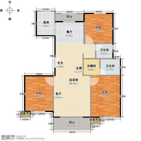 北环盛世3室0厅2卫1厨148.00㎡户型图