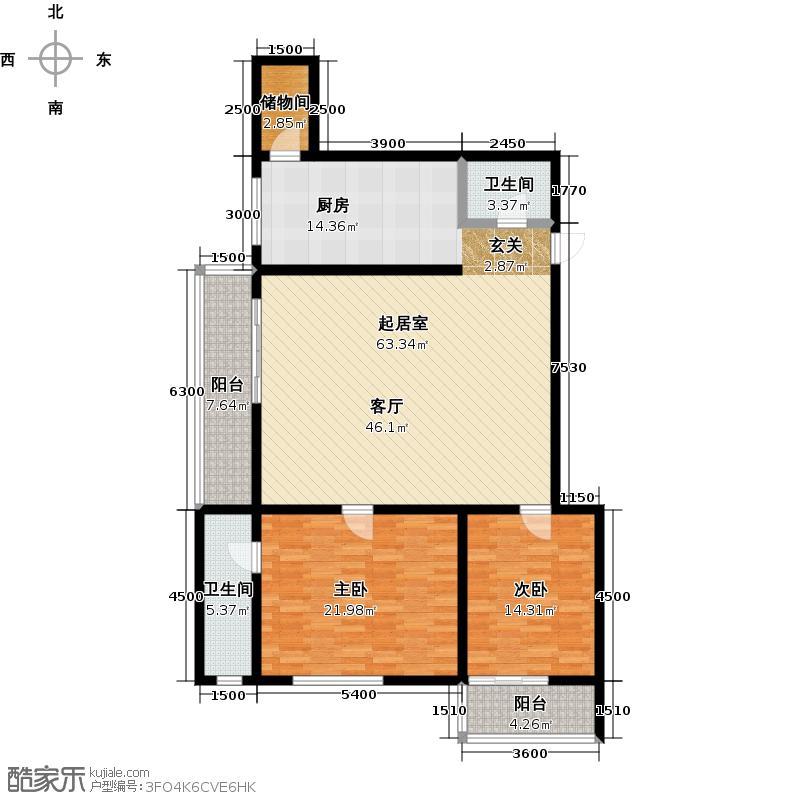 明珠公寓188.43㎡R户型2室1厅2卫户型2室1厅2卫