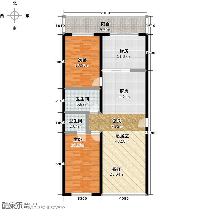 明珠公寓160.40㎡P户型2室1厅2卫户型2室1厅2卫