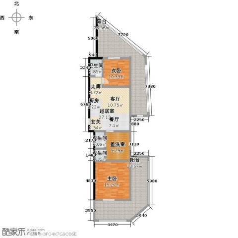 绿城蓝湾小镇2室0厅3卫0厨148.00㎡户型图