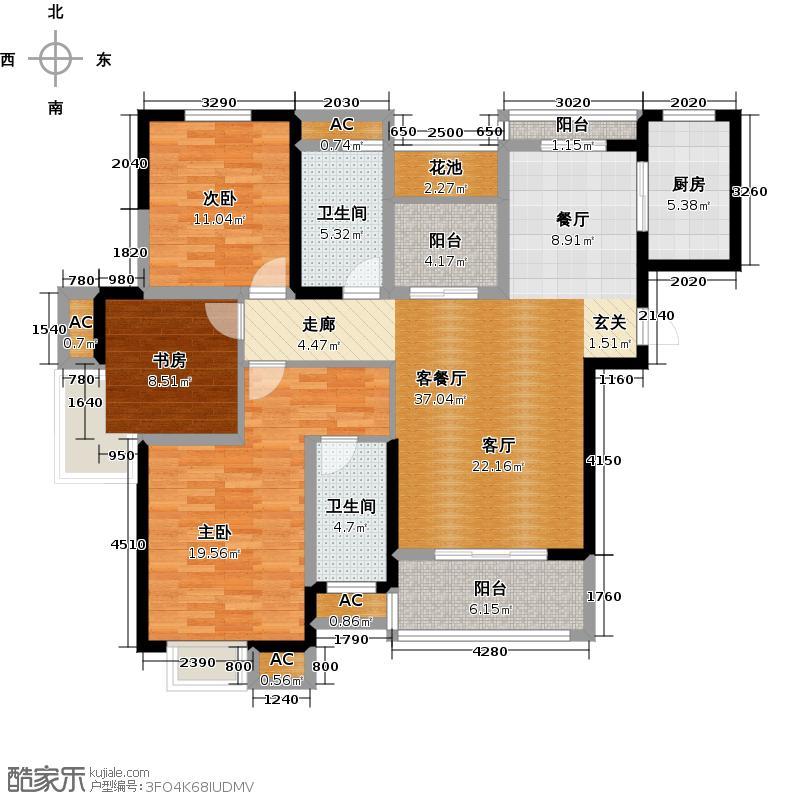 大华铂金华府130.51㎡3A-3户型 3室2厅2卫户型3室2厅2卫
