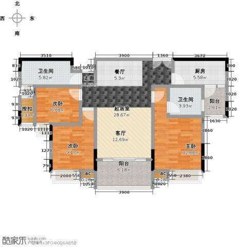 丽景名筑3室0厅2卫1厨115.00㎡户型图