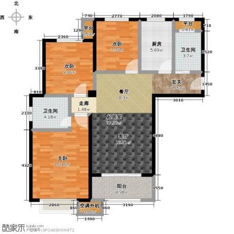 嘉利华府庄园3室0厅2卫1厨98.00㎡户型图