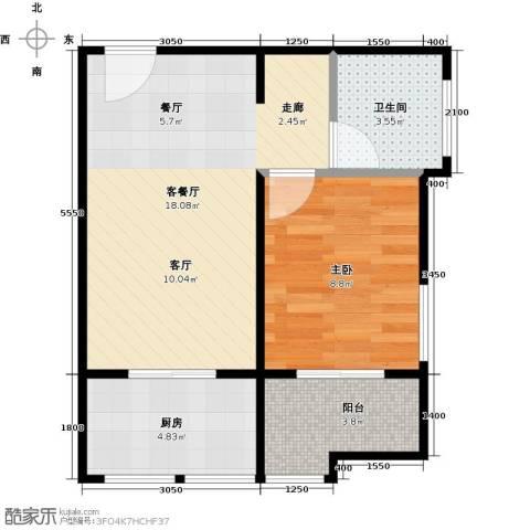 新华名座1室1厅1卫1厨64.00㎡户型图