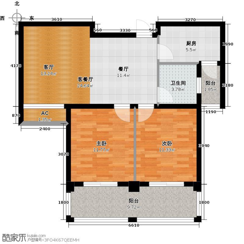 利加华庭85.00㎡利加华庭2号楼2室2厅1卫1厨 85.00㎡户型2室2厅1卫