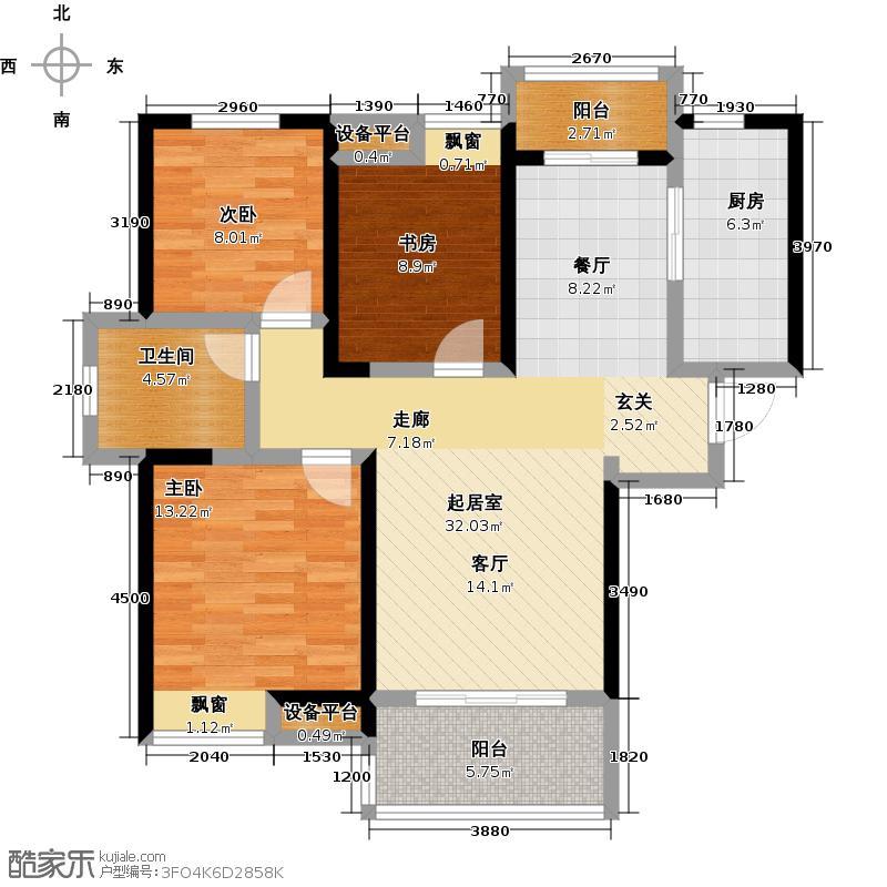 华润橡树湾107.00㎡华润橡树湾107.00㎡3室2厅1卫户型3室2厅1卫