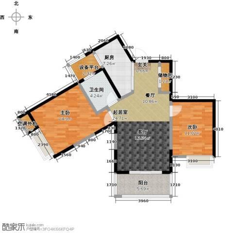 蓝庭国际2室0厅1卫1厨90.00㎡户型图