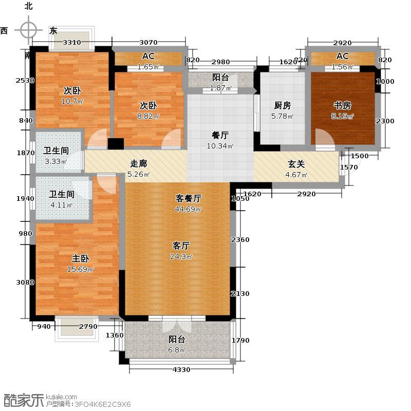 锦绣龙潭145.35㎡A2户型 145.35平米 四房两厅两卫户型4室2厅2卫