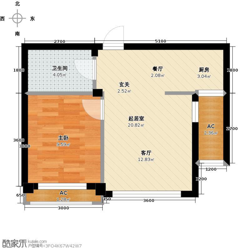 君悦晟景乐家45.35㎡A11室1厅户型1室1厅1卫QQ