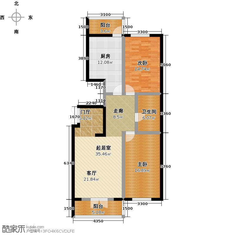 明珠公寓C1/2户型使用面积89.13两室三厅一卫户型2室3厅1卫