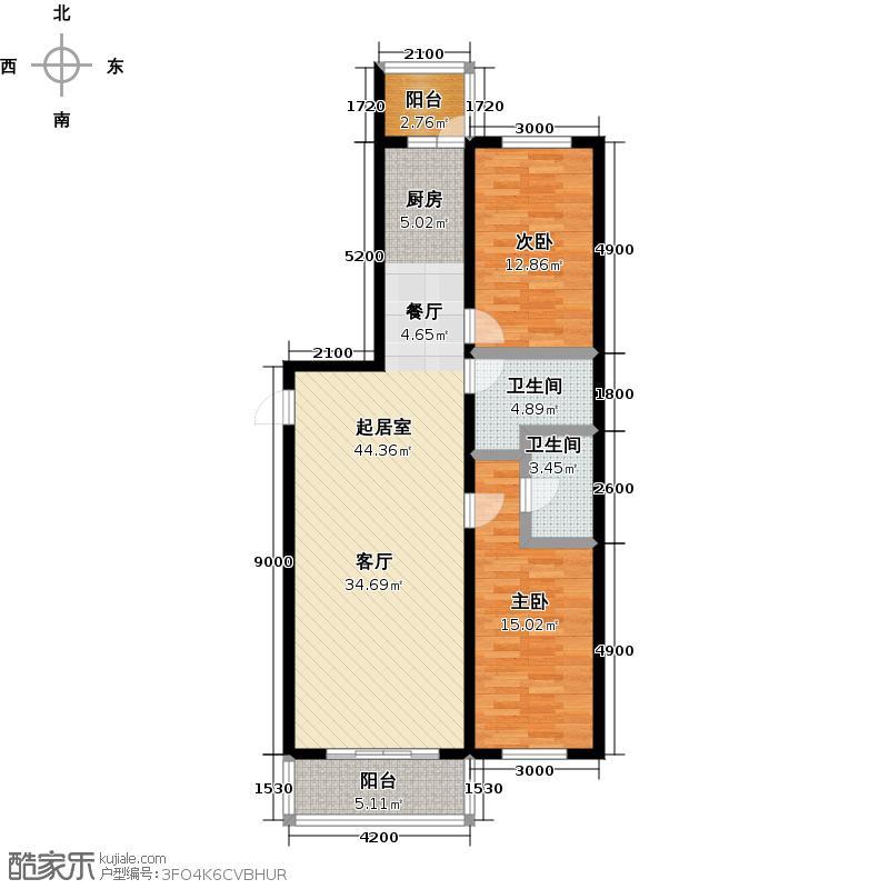 明光翡翠湾83.30㎡2室2厅2卫户型2室2厅2卫