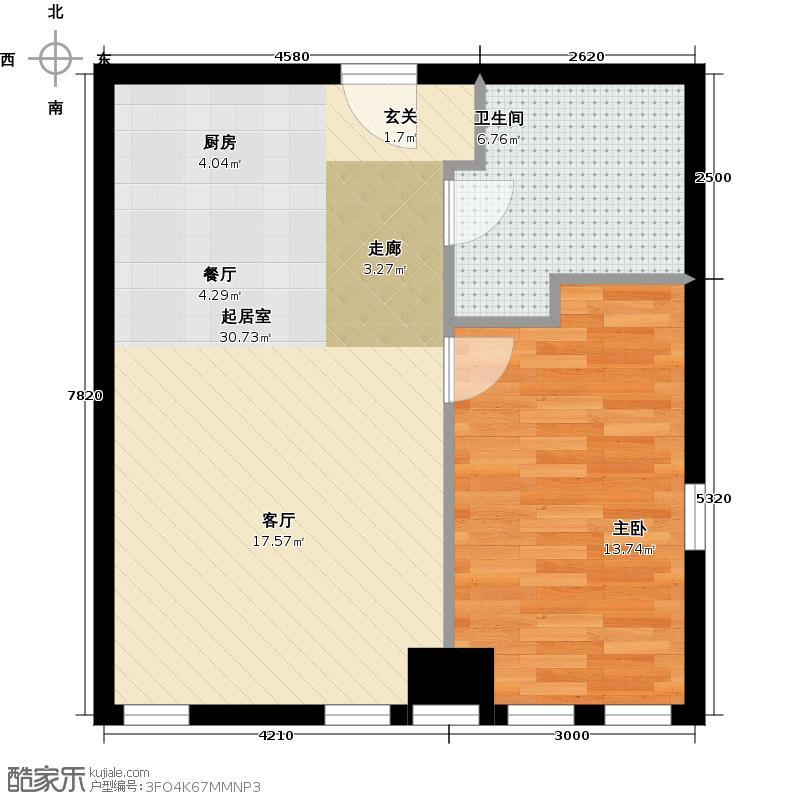 奈伦国际一室一厅一卫户型