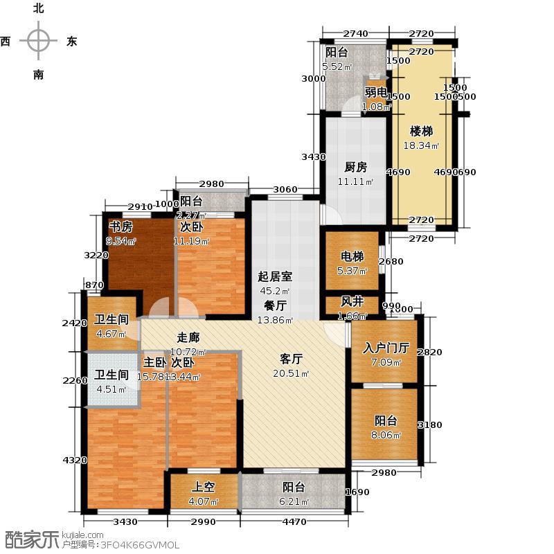 葛洲坝国际广场179.00㎡C-1户型 四室二厅二卫户型4室2厅2卫
