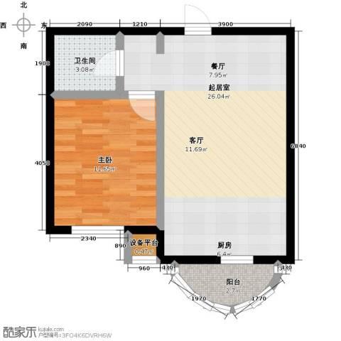 香洲心城三期1室0厅1卫0厨60.00㎡户型图