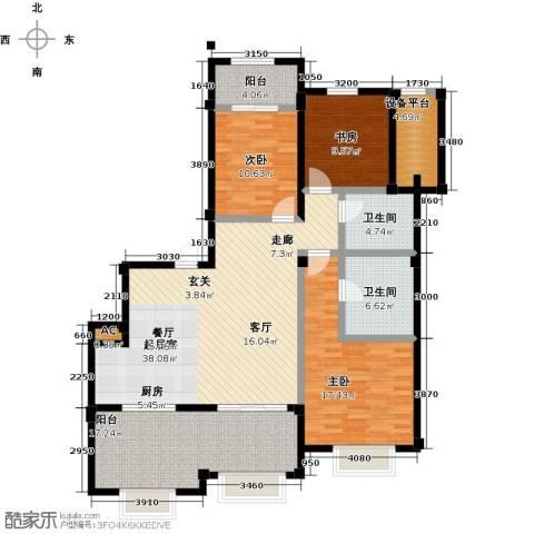 绿城蓝湾小镇3室0厅2卫0厨131.00㎡户型图