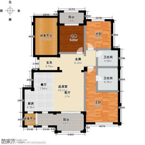 绿城蓝湾小镇3室0厅2卫0厨136.00㎡户型图