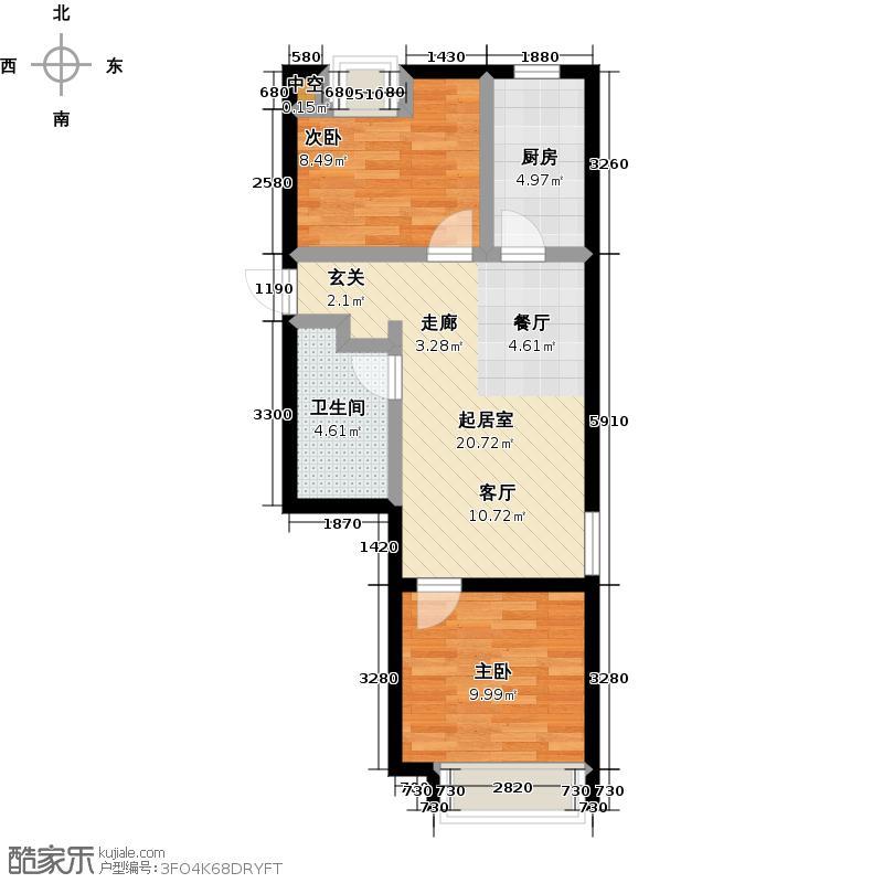 颐和星海79.57㎡C户型2-1# 二室二厅一卫户型2室2厅1卫