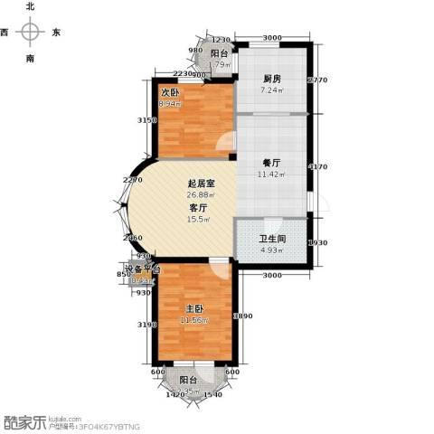 香洲心城三期2室0厅1卫1厨88.00㎡户型图