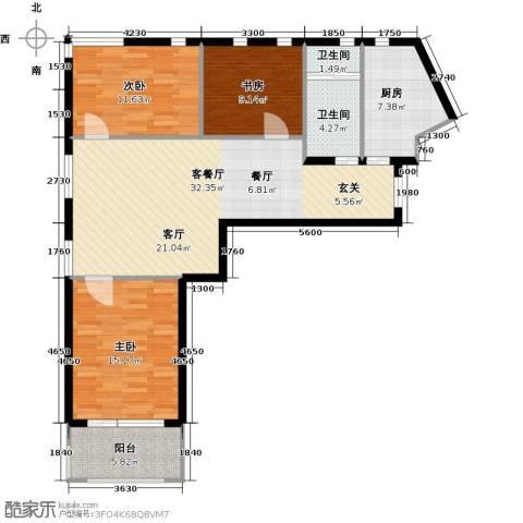 金科清都记忆3室1厅2卫1厨122.00㎡户型图