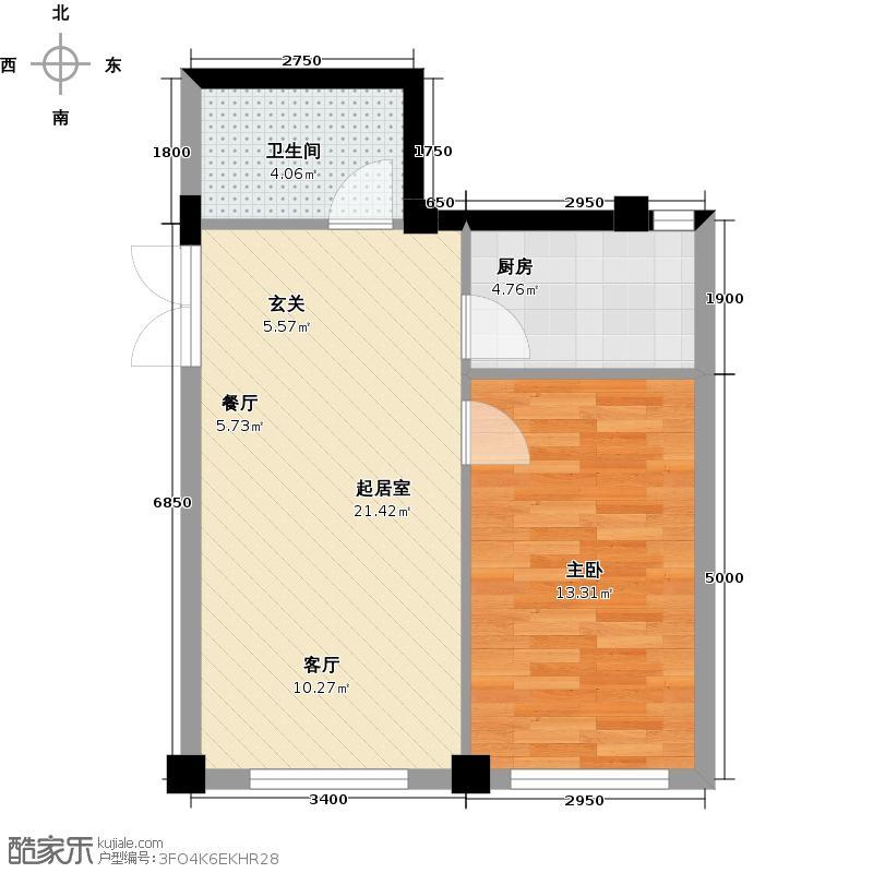 耕海广场66.48㎡一室二厅一卫户型1室2厅1卫QQ