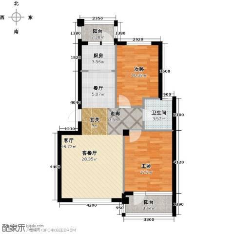 天源秀景2室1厅1卫1厨82.00㎡户型图
