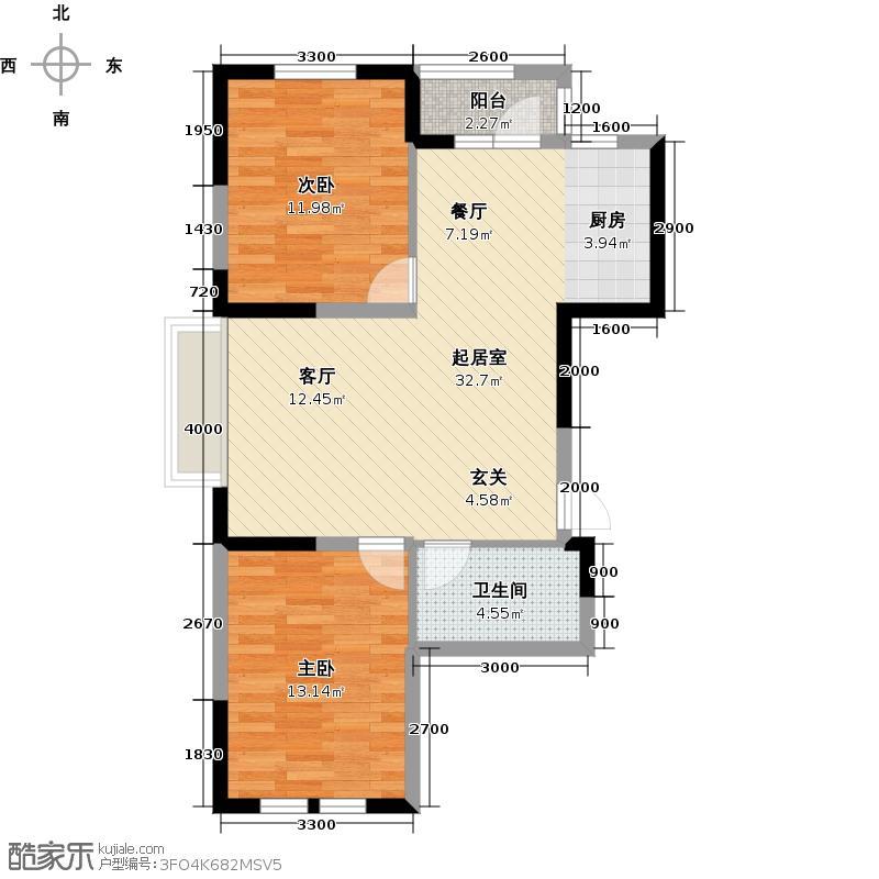 温莎小镇A3户型二室二厅二卫户型2室2厅2卫QQ