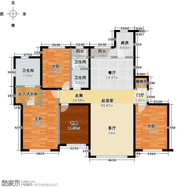 东港第171.24㎡D1层户型 四室两厅两卫户型4室2厅2卫