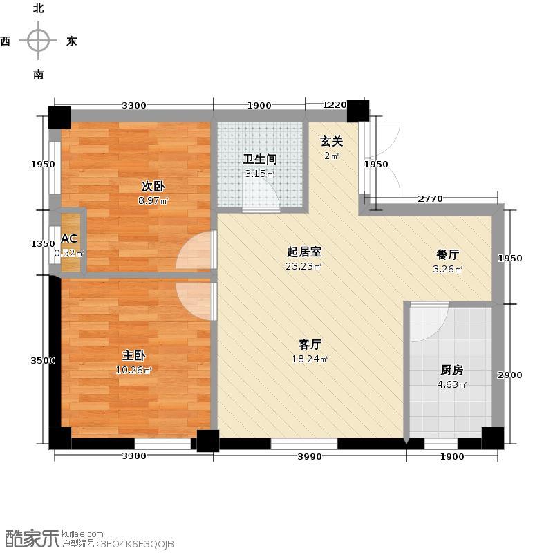 耕海广场76.33㎡二室二厅一卫户型2室2厅1卫QQ